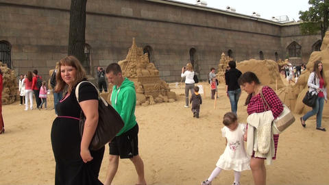 Locks and figures from the sand Stock Video Footage