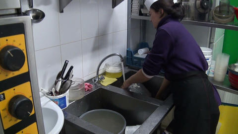 Dishwasher woman Footage