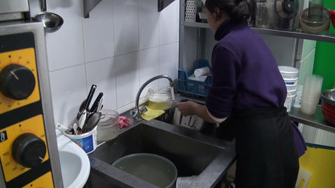 Dishwasher woman Stock Video Footage