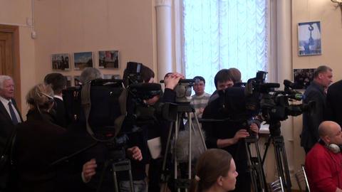 Film crew, journalists Stock Video Footage