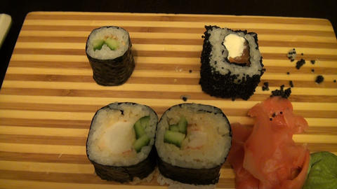 Roll and Sushi Stock Video Footage
