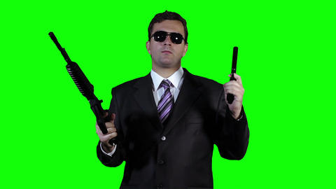 Bodyguard with Guns Watching Action Greenscreen 36 Stock Video Footage