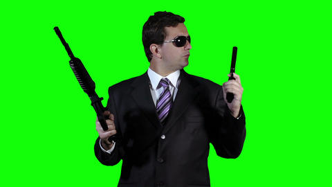 Bodyguard with Guns Watching Action Greenscreen 36 Footage