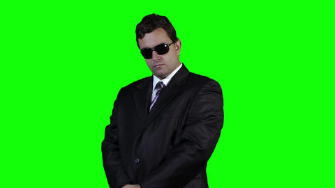 Bodyguard with Pistol Gun Watching Action Greenscreen 35 Footage