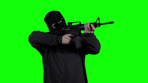 Man in Mask with Gun Action Greenscreen 41 Stock Video Footage