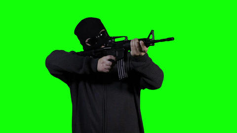 Man in Mask with Gun Action Greenscreen 41 Footage