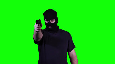 Man in Mask with Pistol Gun Action Nervous Breakdown... Stock Video Footage