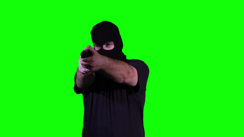 Man in Mask with Pistol Gun Action Nervous Breakdown Greenscreen 24 Footage
