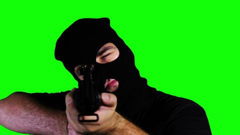 Man with Gun Action Closeup Greenscreen 59 Stock Video Footage
