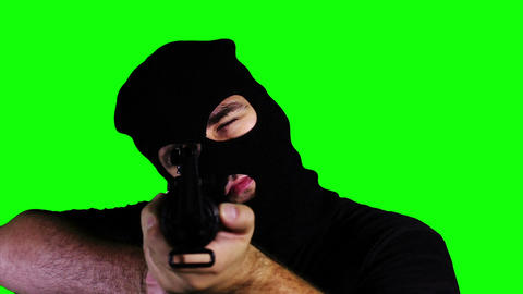 Man with Gun Action Closeup Greenscreen 59 Footage