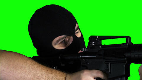 Man with Gun Action Closeup Greenscreen 65 Stock Video Footage