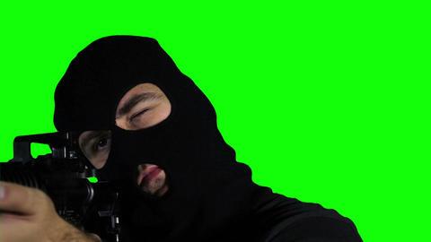 Man with Gun Action Closeup Greenscreen 65 Stock Video Footage
