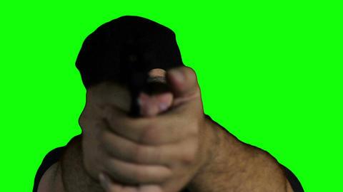 Man with Gun Action Closeup Greenscreen 67 Stock Video Footage