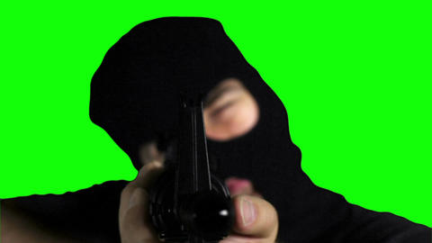 Man with Gun Action Closeup Greenscreen 70 Stock Video Footage