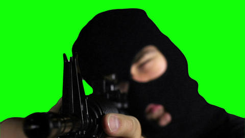 Man with Gun Action Closeup Greenscreen 70 Stock Video Footage