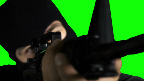 Man with Gun Action Closeup Greenscreen 72 Stock Video Footage