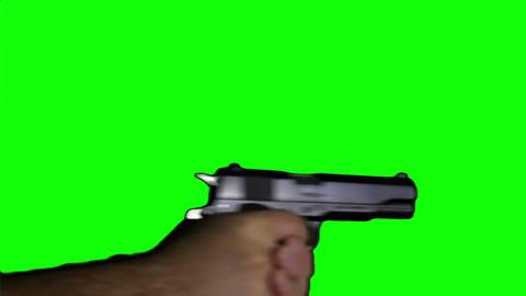 Man with Pistol Gun Action Closeup Greenscreen 74 Stock Video Footage