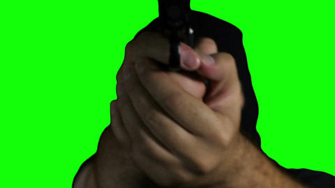 Man with Pistol Gun Action Closeup Greenscreen 76 Stock Video Footage