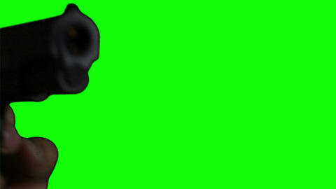Man with Pistol Gun Action Closeup Greenscreen 76 Stock Video Footage