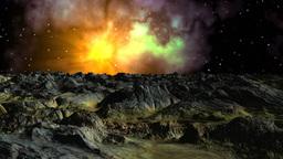 Bright nebula against a fantastic landscape Stock Video Footage