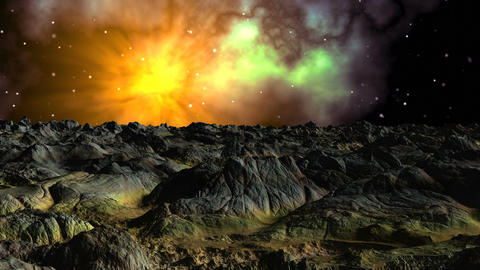 Bright nebula against a fantastic landscape Animation