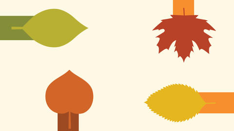 Autumn maple leaves with sliding animation design element After Effects Template