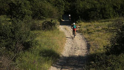 many cyclists riding on a mountain road on a mountain bike Footage