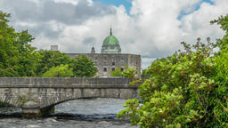 A zooming time-lapse of the world famous Galway Cathedral, Galway city, Ireland Footage