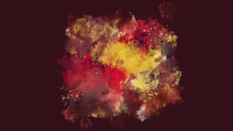 Dark red, brown and yellow watercolor blot appears on the alpha channel Animation