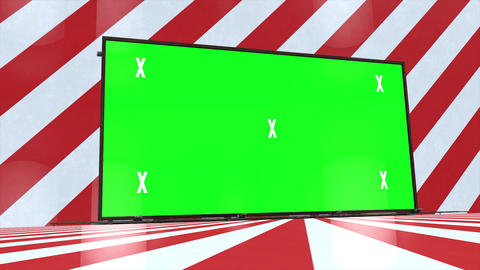 Abstract creative red and white stripped room, studio and green screen billboard. Chroma key, alpha Animation
