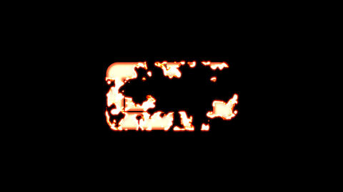 Symbol battery quarter burns out of transparency, then burns again. Alpha channel Premultiplied - Animation