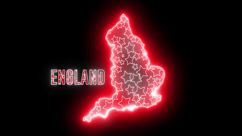 Creative neon map of England. Shiny glowing outline of England continent Animation