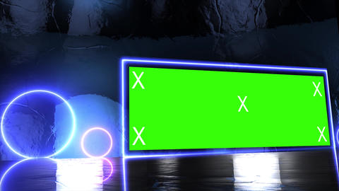 Abstract creative metal stage and led, neon blank billboard, border. Video mock up for Animation