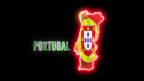 Neon Portugal map with neon shiny glowing text PORTUGAL Animation