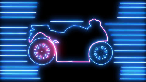 Neon motorcycle on road animation. Led, colorful light of outline bike, racer, rider, chopper, Animation