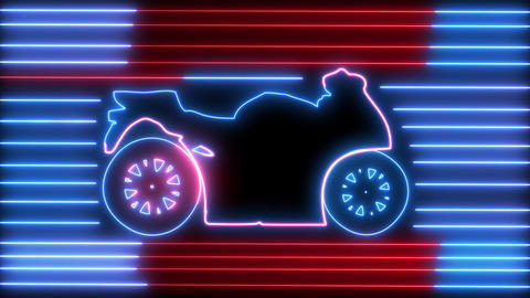 Neon motorcycle on road animation. Led, colorful light of outline bike, racer, rider, chopper, CG動画