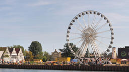 Ferris wheel. Tourist attraction in Gdansk, Poland Live Action