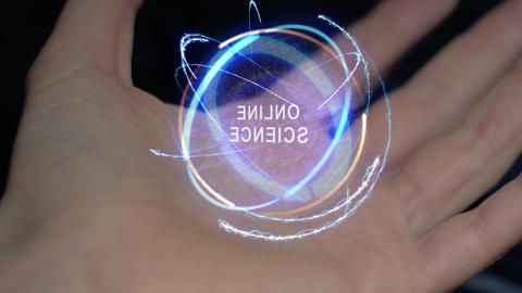 Online science text hologram on a female hand Footage