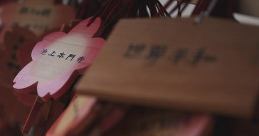 Votive tablets at Ikegami honmonji temple in Tokyo closeup ライブ動画