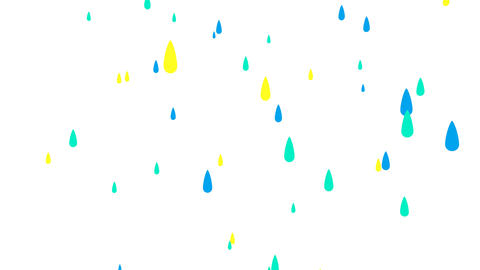 Rain drops on white background Animation