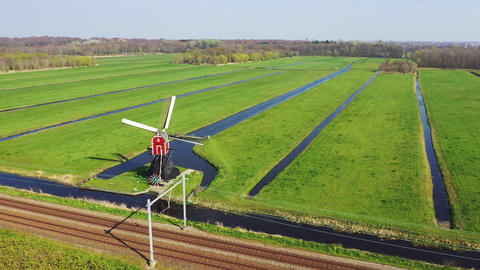 Aerial view of traditional windmills, Netherlands Footage