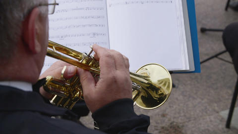 Trumpeter playing music on trumpet on outdoor concert. Street musician playing Live Action