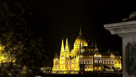 Hungarian Parliament in Budapest. Night Footage