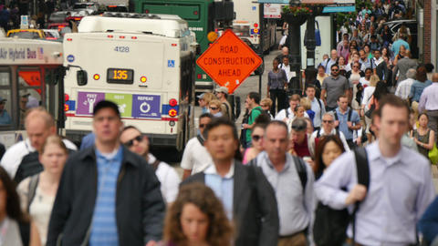 Commuters in Downtown Financial Chicago Loop Footage
