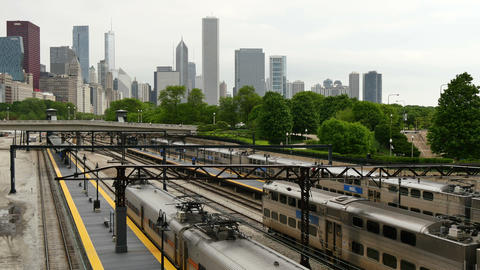 Trains Arriving and Leaving Chicago Loop District Footage