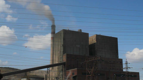 Harmful smoke from thermal power plant chimney. environment, atmosphere pollution Footage