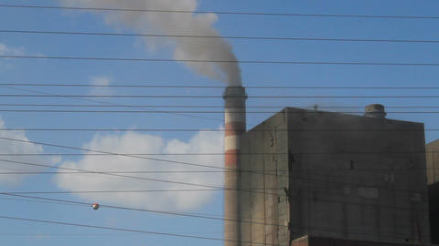 Harmful smoke from thermal power plant chimney. environment, atmosphere pollution Live Action