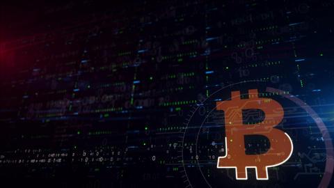 Bitcoin symbol lower thirds background CG動画