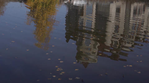 Beautiful mansion is reflected from surfuce of nice pond in country side Footage