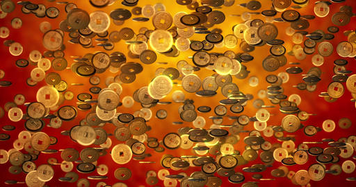 Chinese new year background, Golden coins 3d texture. 3D rendering 4K Animation